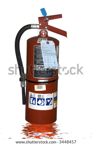 An industrial fire extinguisher isolated on a white background - stock photo