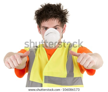 An industrial man with a dust mask, isolated on white - stock photo