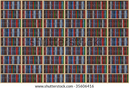 An infinite texture representing a bookshelf filled with books - all the titles and logos of my authorship - digital artwork - stock photo