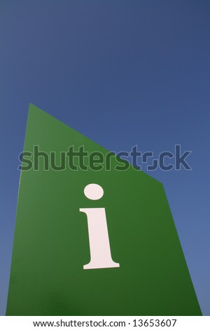 An information signal with a sky background. - stock photo