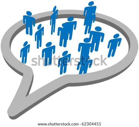 An inner circle of blue symbol people meet and talk inside a social media network speech bubble. - stock photo