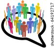 An inner circle of colorful diverse people join to meet in a social media speech bubble - stock photo