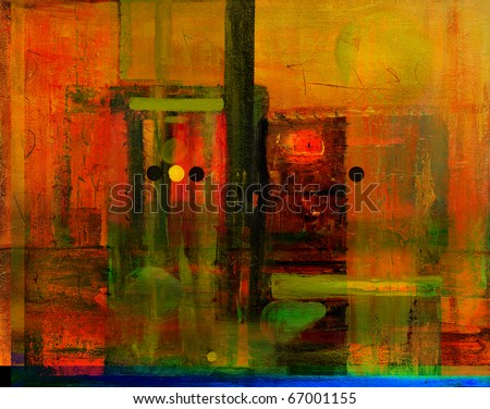 An Interesting large scale Abstract Painting On Canvas - stock photo