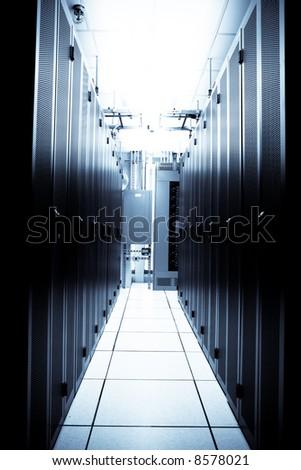 An interior shot of a technology data center - stock photo