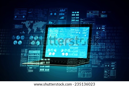 An internet server computer doing data processing and calculating  - stock photo