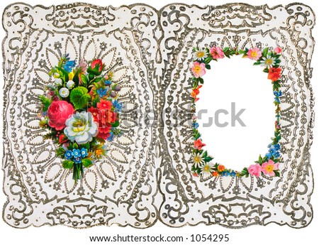An intricate vintage floral wedding invitation (embossed) and picture frame design - circa 1872 (designed to be folded) - stock photo