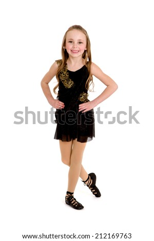 An Irish or Celtic Dancer in Ghillies and Recital Costume - stock photo
