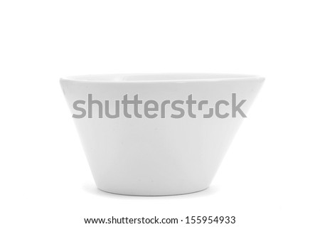 an irregular white ceramic bowl on a white background - stock photo