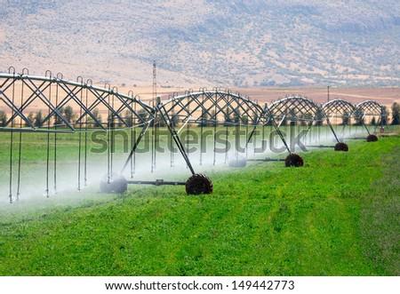 An irrigation pivot watering a field  - stock photo
