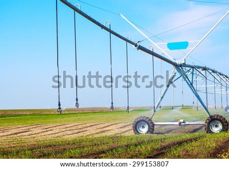 An irrigation pivot watering a field of onion. - stock photo