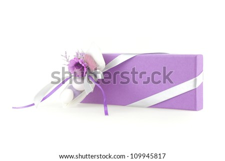 An isoalte wedding favor box on white background - stock photo