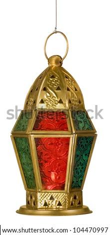 An isolated arabic lantern - stock photo