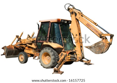 An isolated backhoe with the shovel raised and the balance bars lowered - stock photo