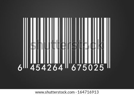 An isolated barcode on a dark background .Closeup on array of digits. - stock photo