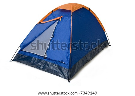 an isolated camping tent blue and orange in a white background - stock photo