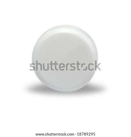 An isolated, circular, blank white pill with a shadow underneath it. - stock photo