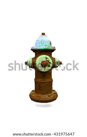 An isolated colorful, old and stripped fire hydrant.    This hydrant has been colored with yellow, red, white and various similar shades. - stock photo