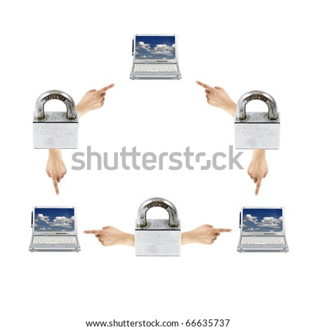 An isolated cutout of a network diagram of computer laptop and finger pointing hand and padlock indicating encrypted communication. - stock photo