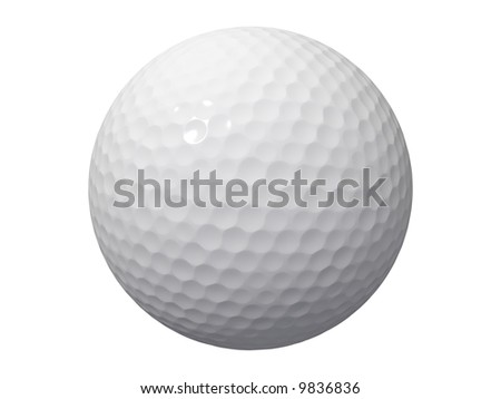 An isolated golf ball on white background - stock photo
