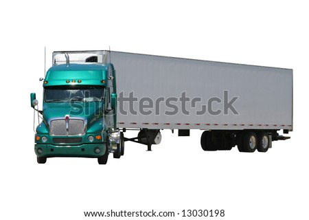 An isolated green semi tractor trailer turned to the left - stock photo
