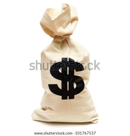 An isolated shot of a bag of money with the dollar symbol stamped on it. - stock photo