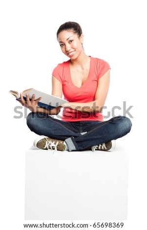 An isolated shot of a beautiful black college student - stock photo