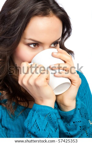 An isolated shot of a beautiful caucasian woman drinking a cup of coffee - stock photo