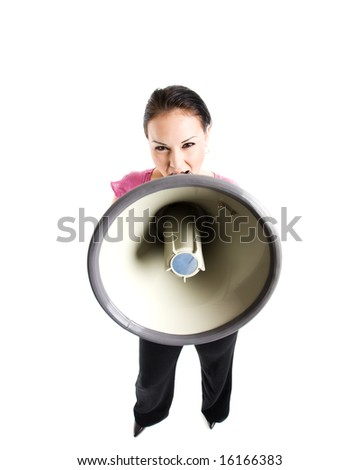 An isolated shot of a businesswoman shouting on a megaphone - stock photo
