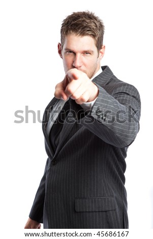 An isolated shot of a caucasian businessman pointing - stock photo