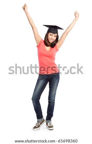 An isolated shot of a happy beautiful black college student - stock photo