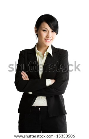 An isolated shot of a smiling businesswoman - stock photo