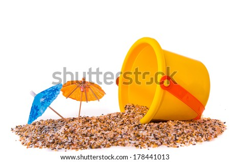 An isolated shot of beach toys, bucket - stock photo