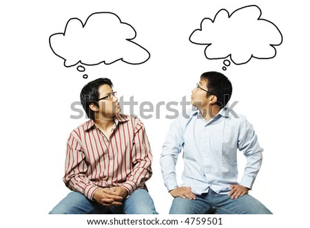 An isolated shot of two businessmen reading each other's thoughts - stock photo