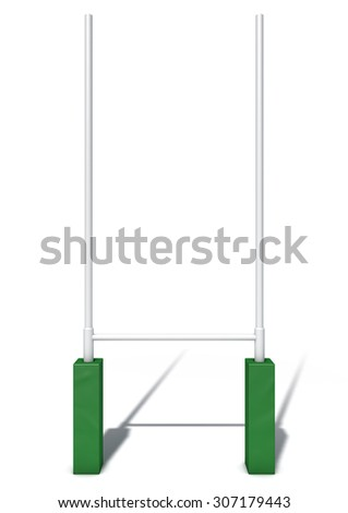 An isolated studio shot of white rugby posts with green padding  - stock photo