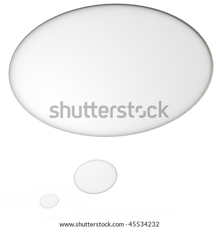 An isolated thought bubble, a 3d image - stock photo