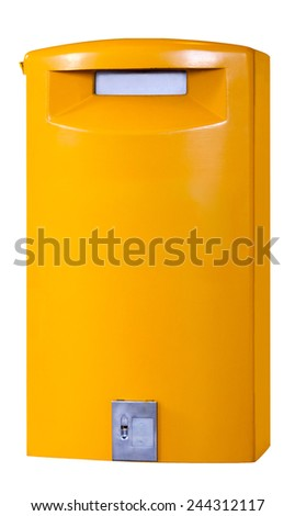 An isolated yellow European mail collection box. - stock photo