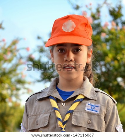 An Israel Girl Scout on the way to summer camp - stock photo