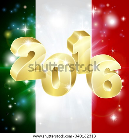 An Italian flag with 2016 coming out of it with fireworks. Concept for New Year or anything exciting happening in Italy in the year 2016. - stock photo