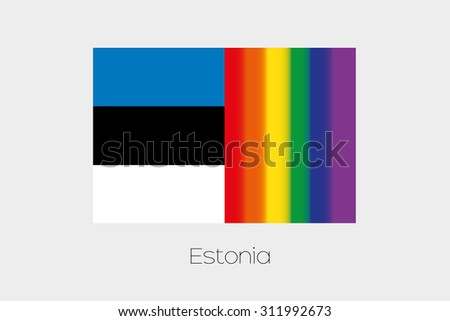 An LGBT Flag Illustration with the flag of Estonia - stock photo