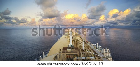 An LNG (Liquefied Natural Gas) Vessel sailing through the Indian Ocean - stock photo