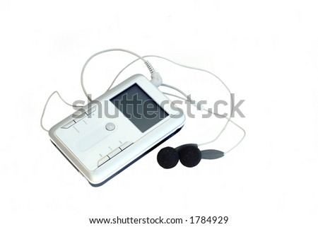 an mp3 player isolated on white, with a clipping path - stock photo