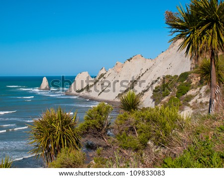 An ocean cape with cabbage trees in front - stock photo
