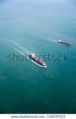 An ocean tanker on the open sea - stock photo