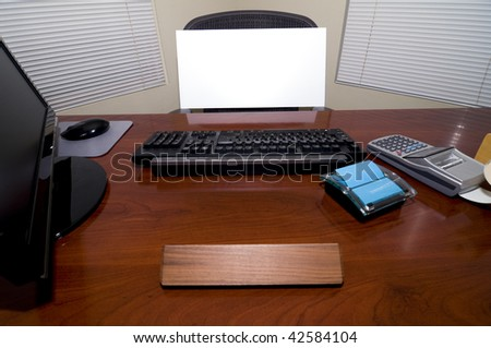 An Office Desk with a Blank Sign Board in the Chair.  Add Your Text to Express Numerous Business and Employment Issues! - stock photo