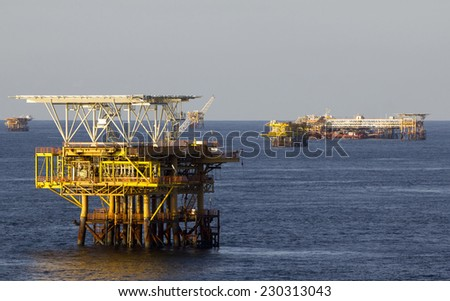 An offshore oil rig in the South China Sea - stock photo