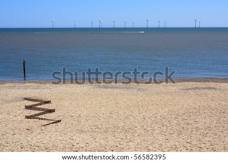 An offshore wind-farm at Scroby Sands, near Great Yarmouth, Norfolk, England, UK.  Copyspace available. - stock photo