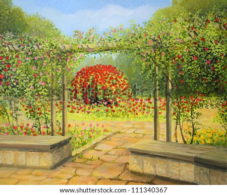 An oil painting on canvas of a beautiful rose garden in the park, with red, white and pink roses blooming in the spring. Relaxing and inviting place in the heart of the city. - stock photo