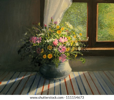 An oil painting on canvas of a bouquet of colorful field flowers, caressed by a sunbeam passing through the window warming the interior of the room, a still life artwork on a floral theme. - stock photo