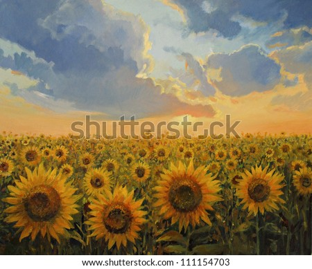 An oil painting on canvas of a breathtaking rural sunset scene with a sunflowers field. Colorful floral landscape lit by the warm light of the sun in the last hours of the day. - stock photo