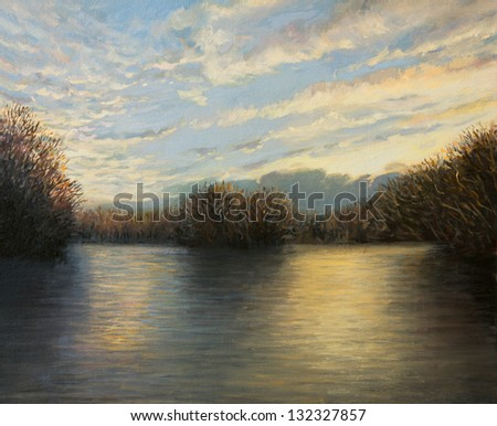 An oil painting on canvas of a peaceful lake landscape enlighten by the last sunbeams of a bright autumn day with colorful reflections on the water surface. - stock photo
